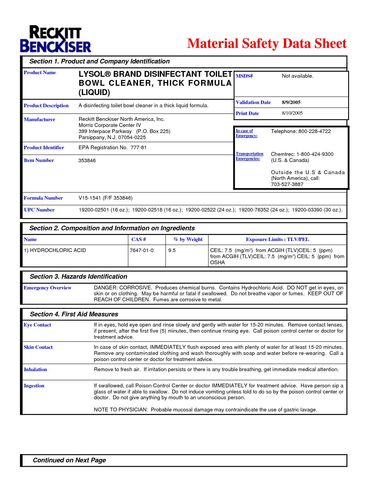 Lysol Kitchen Cleaner MSDS Sheet